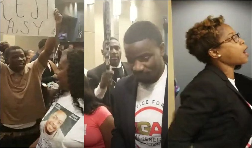 Protesters walk out of Waco, TX City Council chanting 22 shots, No Justice No Peace in the death of Kerry Bradley